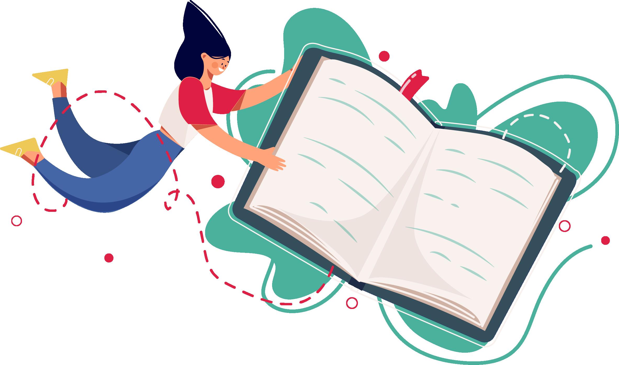 illustration femme tient un livre